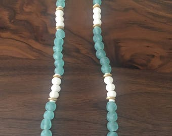 African glass and bone bead necklace