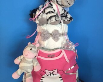 Baby girl Zebra Diaper Cake
