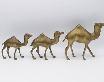 Set of 3 Solid Brass Camels - Mid Century Modern - Egyptian Decor - Egypt - Middle East - Animals - Kitschy