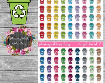 Recycle Bin Stickers (Choose from 2 color sets)
