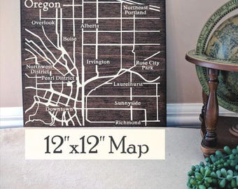 Portland Map Wall Art, Large Wooden Map, Portland Map, Portland Wood Map, Wooden Street Map, Painted Wood Map, Address Map by Novel Maps