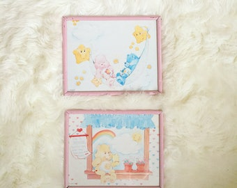 Rare Vintage 1985 Care Bears Pictures - Framed - Set of 2 - Baby Hugs - Funshine Bear