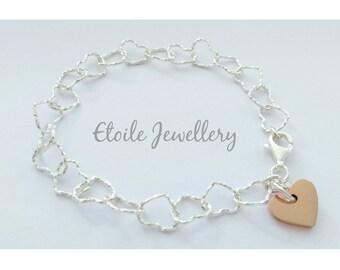Silver Heart Bracelet,Rose Gold Charm,Heart Bracelet, Silver Chain Bracelet, Charm Bracelet, Bracelets for Women,Hearts