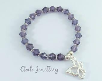 Girls Purple Bracelet, Butterfly Bracelet, Stretch Bracelet, Girls Jewellery, Childrens Bracelet, Girls Bracelet, Silver Bracelet