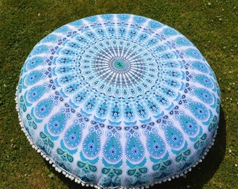 Mandala Floor Cushion in White and Turquoise