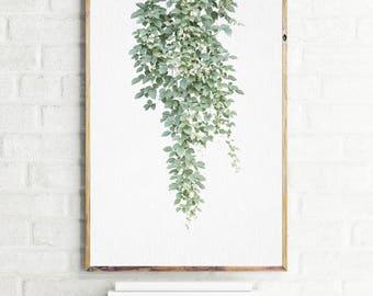 Printable vine poster, green botanical wall art print, vine photography, modern botanical wall decor, plant print, botanical large poster,