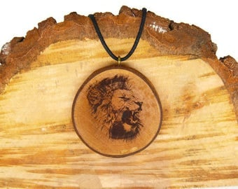 "Soul slices ""lion"" wood necklace, vintage * Ethno * hippie * MUST have * statement *"