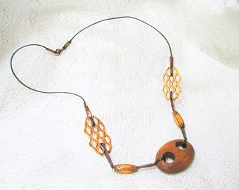 Necklace, handmade, metal and wood