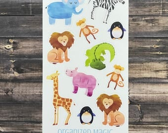 zoo animal stickers, animal stickers, party favors, stocking stuffers