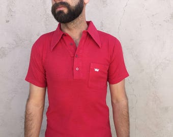 "Men's Vintage 70's Polo by ""Kings Road"" // Small // Red"
