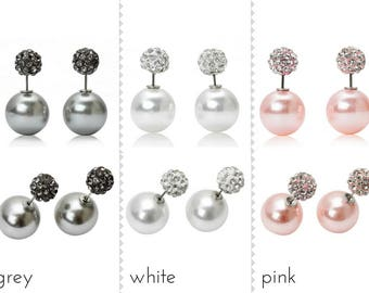 Double bead stud earrings with rhinestones and pearls in grey, white or pink - Pick your Own!