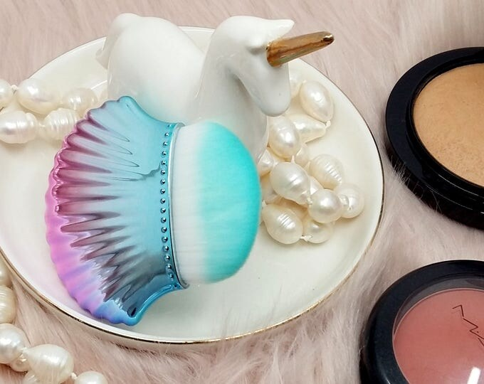 Featured listing image: Mermaid Themed Make Up Brush - Foundation Contour Contouring Shell Brush Metallic - Make Up Addict Gift, Beauty Gift For Her, Wedding Gifts