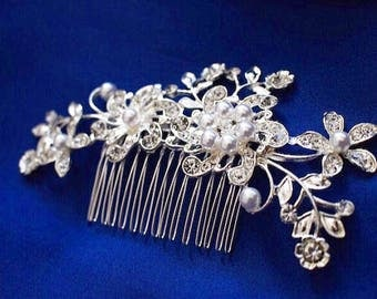 Pearl Silver Hair Accesscory, Pearl Bridal Comb, Wedding Hair Comb, Prom Hair Comb