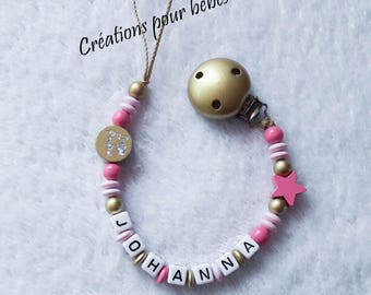 """Girl personalized pacifier clip with wooden beads """"I love Daddy / I love Mommy"""""""