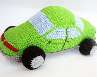 Crochet Green Car, Stuffed Car Toy, Crochet Toys, Nursery Decor, Crochet Stuffed Cars, Car Lovers, Car Soft Toy, Large Stuffed Car Toy
