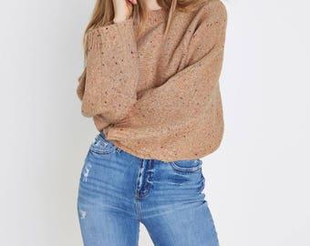 Flecked knit crew neck boxy jumper