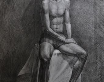 Free shipping. Picture. Drawing of the guy. Athletic athlete. pencil drawing. Naked guy.