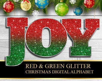 Christmas Red Green Glitter Digital Alphabet, Numbers, Punctuation Clip Art, Christmas Letters, Green Red Glitter Clipart - Instant Download