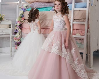 Blush Flower Girl Dress • Ivory Flower Girl Dress • Blue Flower Girl Dress • Birthday • Girls party dresses • Princess Dress •Toddler dress