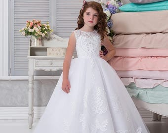 White Flower Girl Dress • Holy Communion Dress • Birthday • Wedding Party • Holiday • Princess Dress • Tulle Gown • Fairy Princess Gown