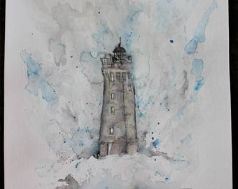 Old Lighthouse Watercolor 9 x 12