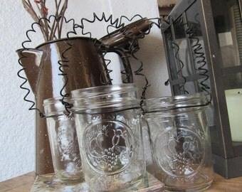 Glass Canning - Mason Jar Votive Holer-Hanging votive or flower vase-wire hanger with charm-Wedding