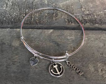 US Navy Bangle Charm Bracelet, Navy, Anchor rope , Made In America, US Military, Naval Support, Support Our Troops