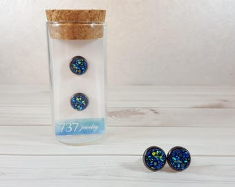 Metallic Blue Druzy Earrings, Metallic Blue Stud Earrings, Druzy Stud Earrings, Metallic Blue Faux Druzy Earrings, 8mm Metallic Blue Druzy