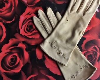 Vintage Evening Gloves, Vintage Wedding Gloves, Vintage Special Occasion Gloves, Vintage Cotton Gloves, Evening Gloves
