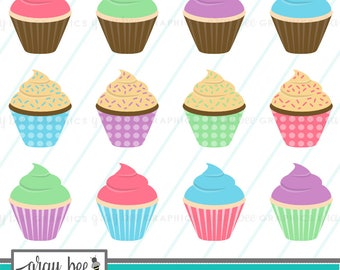 SALE! Cupcakes-Clipart Set, Commercial Use, Instant Download, Digital Clipart, Digital Images- CP228