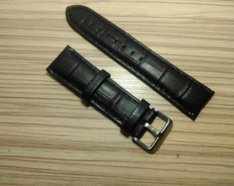 Black 22 mm Leather Watch Band, 22 mm Genuine Leather Wrist Watch Band Natural Leather Watch Strap Black Textured Leather Watchband