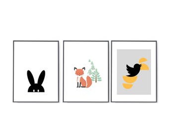 Scandi nursery art Set of 3 prints - baby shower new baby gift - Nursery set prints - personalised nursery prints - fox nursery prints