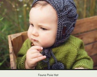 Knit bonnet pattern, pixie bonnet pattern, pixie hat, pixie baby, baby hat pattern, knit pattern, wool bonnet, Fauna