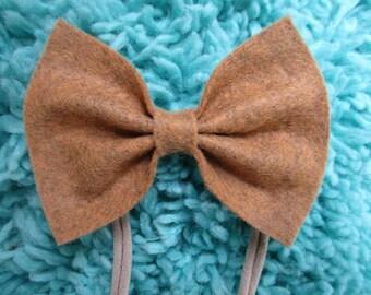 Vintage Gold Felt Bow Baby Headband Clip