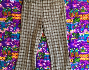 Vintage Brown Plaid Wide Leg Side Tab Suit Pants Adeu & Josi Retro High Waisted