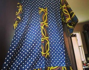 SOLD! blockprinted indigo dye polka dot tunic dress with tribal print
