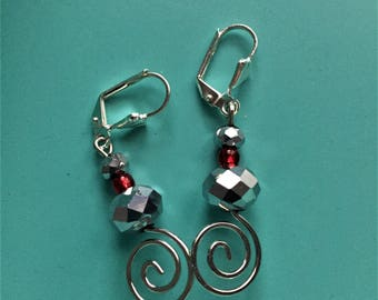 Swirl Earrings /Art Deco Earrings /Silver Earrings /Vintage Earrings /Boho Earrings /Red Earrings /Dangle Earrings /Statement Earrings