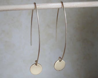 Long Gold Disc Earrings, Two Inch Long Elegant Gold Circle Drop Earrings, Hand Crafted Jewelry