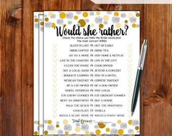 Would She Rather Bridal Shower Game - Gold Dots & Diamonds Printable Bridal Shower Game - Bachelorette Party Night - Hen Party Game DD79-GD