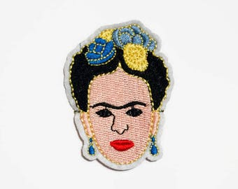 Frida Kahlo Iron On Patch - Feminist Embroidered Patch - Art Student Gift - Iron On Patch Art Patches Women - Embroidery Patch Female Head