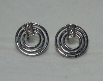 Victorian style rose cut diamonds sterling silver 40mm open hoops earrings - SKU PJER208