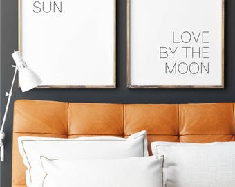 Live by the Sun, Love by the Moon, Typography Wall Art, Printable Art, Two Panel Illustration, Double Panel Wall Art, Sun and Moon Poster