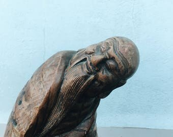 Bamboo root carving, Wise old Man statue