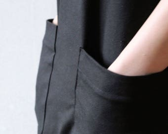 Black minimalist dress with pockets