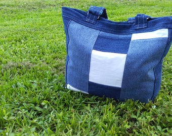 White and Blue Jean Fabric Tote Bag with Silver Hardware