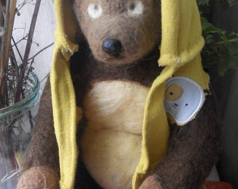 Needle Felted Bear Sculptures by Teddy Bear Review Artist Arhypova Maryna. Babywearing toy.