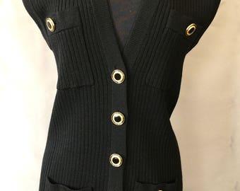 St. John Long Black Rib Knit Vest with Gold Buttons