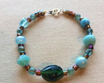 Aqua Glass Bead Bracelet