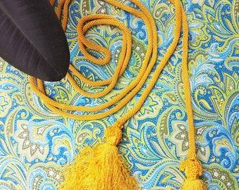 Tassels tie back, vintage tassels rope, yellow tassels, green tassels, curtain tassels