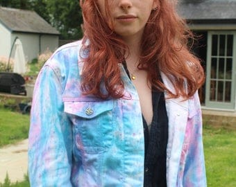 Women's tie-dye pink and blue Pastel denim jacket - perfect for festivals and summer wear